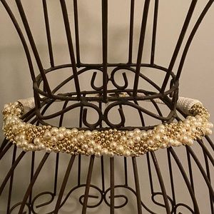 Retro Vintage Pearl and Gold Beaded Belt